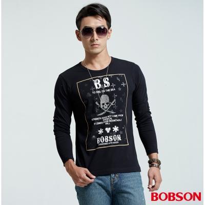 BOBSON  男款圓領骷髏印圖黑色上衣