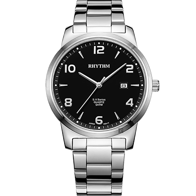 RHYTHM日本麗聲 S.V.Series紳士石英手錶-黑x銀/40mm
