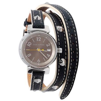 LV Q1212 TAMBOUR系列銀色鉚釘造型穿式三圈皮革石英仕女腕錶(黑-25mm)
