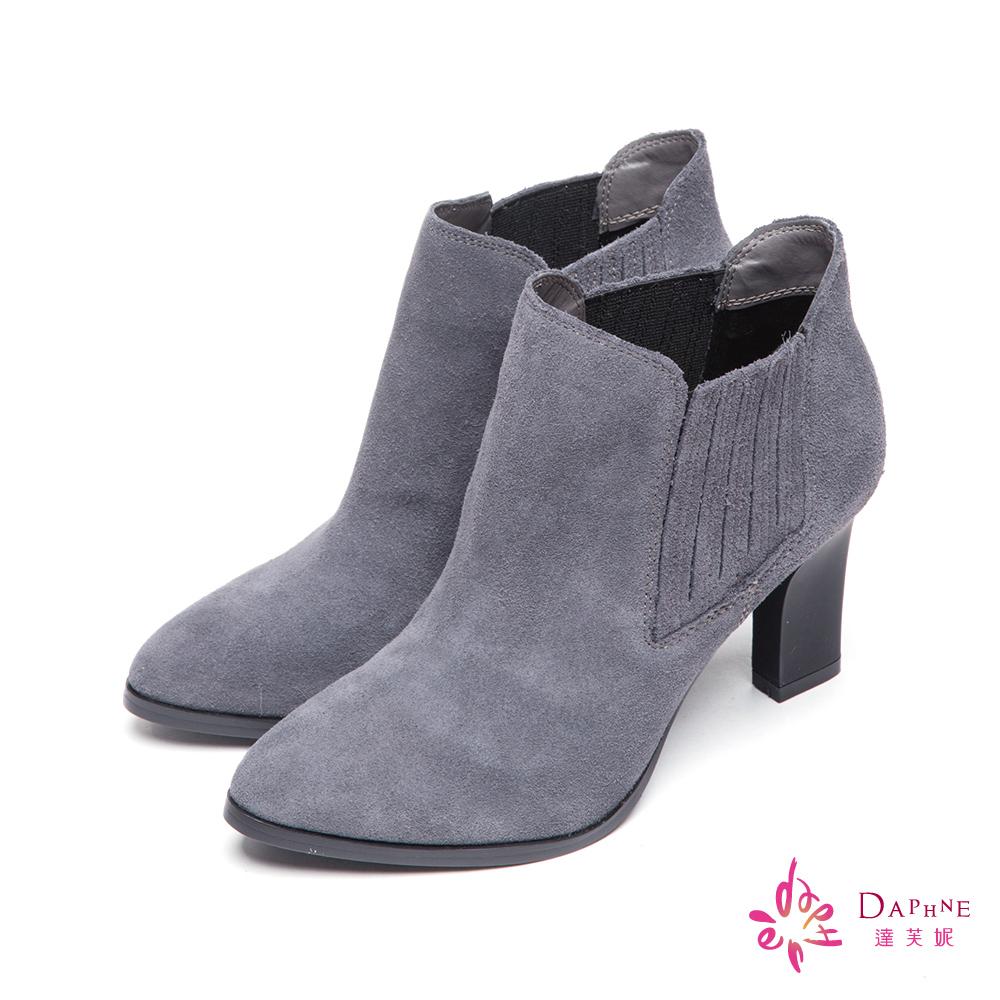 達芙妮x高圓圓 圓漾系列騎士風格麂皮拼接粗跟短靴-人氣灰8H