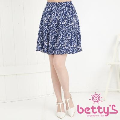 betty-s貝蒂思-彩色幾何後拉鍊鬆緊短裙-深藍