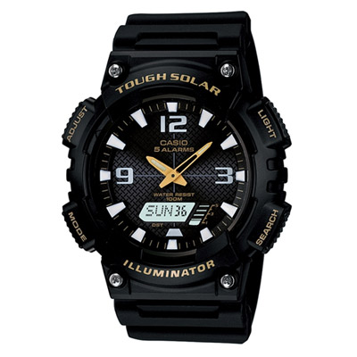 CASIO 新一代光動遊俠雙顯運動錶(AQ-S810W-1B)-黑x金色指針/46.6mm