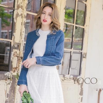 東京著衣-yoco 優雅珍珠牛仔短版口袋外套-S.M.L(共一色)