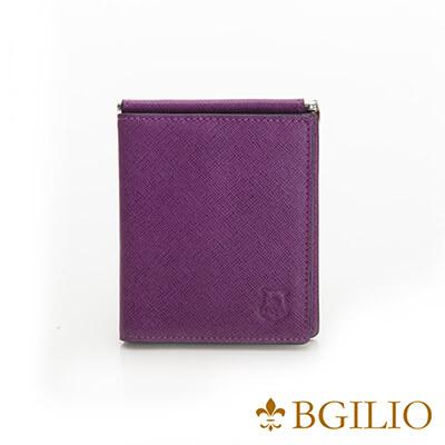 義大利BGilio-都會十字紋牛皮歐風輕薄短夾-紫色-2299.301-10
