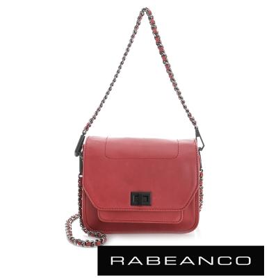 RABEANCO-迷時尚牛皮系列鍊帶雙層轉釦方包-小-紅