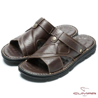 CUMAR 嚴選真皮 舒適觸感氣墊涼拖鞋-咖啡色