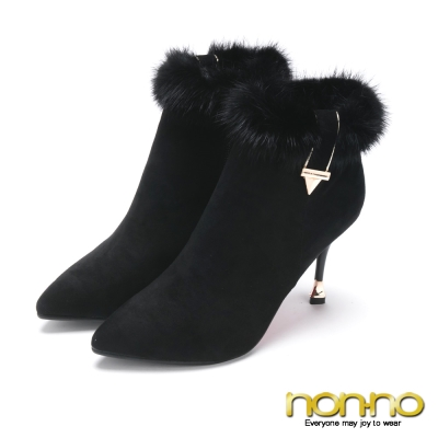 nonno心型鞋跟尖頭高跟皮草靴-黑