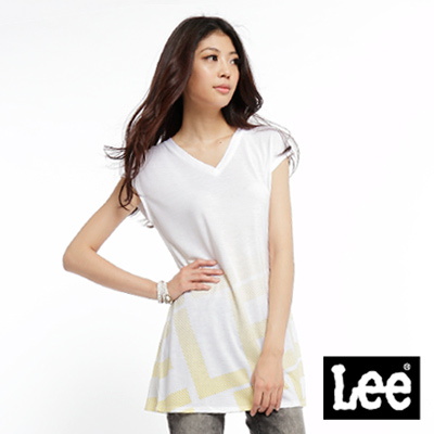 【Lee】Can't Bust 'EM 黃色斜線LEE字樣印花無袖長版V領T恤-女款(白)