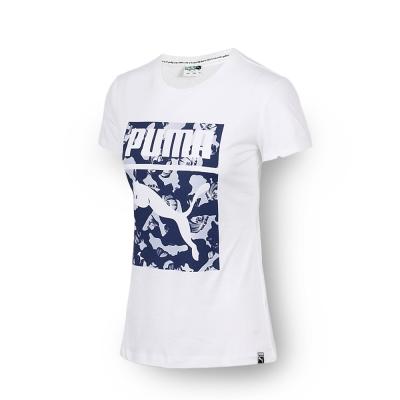 PUMA - 女性 流行系列花朵Archive Logo短袖T恤-白