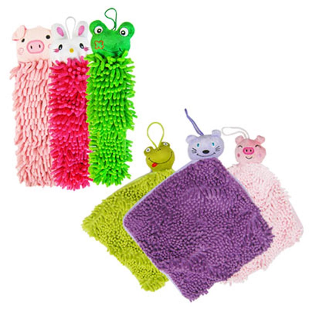 超細纖維動物方形擦手巾3入+動物擦手巾3入(隨機色)