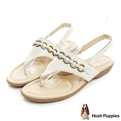 Hush Puppies DACHSHUND 舒適減壓夾腳涼鞋-米白