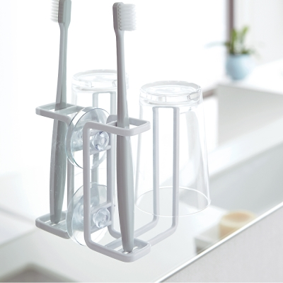 YAMAZAKI MIST吸盤式牙刷兩用杯架