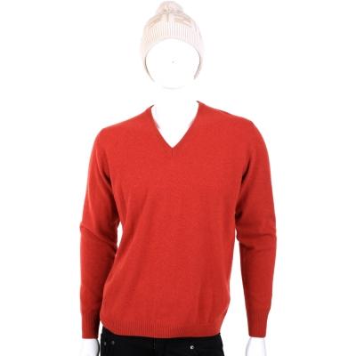 CASHMERE 紅色V領針織衫 (100%CASHMERE)