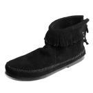 MINNETONKA-BACK ZIPPER BOOT經典麂皮流蘇踝靴-黑色