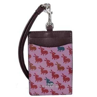 COACH 滿月兔兔防刮頸掛式證件票卡夾(粉紅)