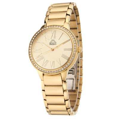 Kappa 閃耀羅馬不鏽鋼時尚腕錶-黃x金/35mm