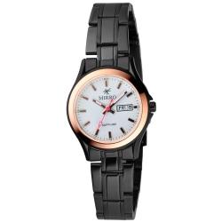 MIRRO 浪漫時光格紋時尚腕錶-白/玫瑰金框/28mm