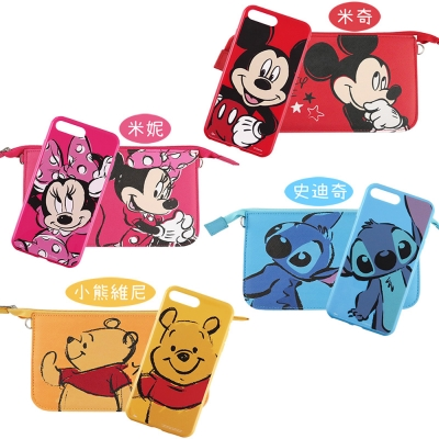 Disney迪士尼迪士尼iPhone 8/7 Plus彩繪軟套+手機袋禮盒-大臉...