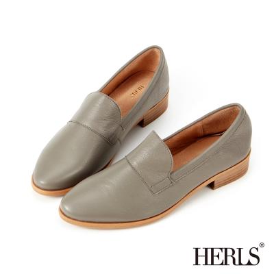 HERLS-百搭印象-全真皮經典素面樂福鞋-灰色