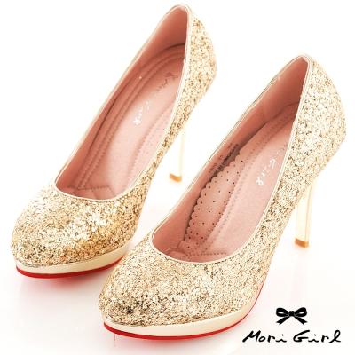 Mori girl璀璨焦點-華麗亮片高跟紅底鞋 金