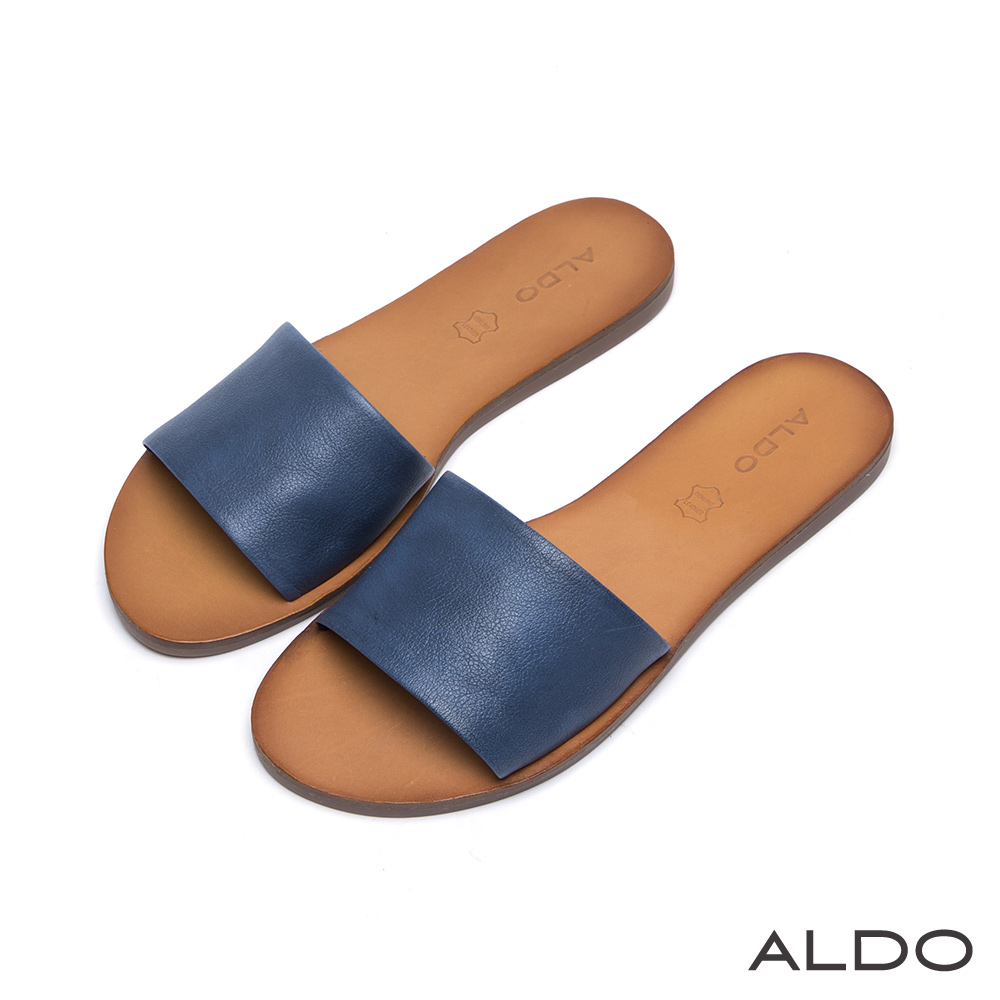 ALDO 典雅原色真皮寬版一字休閒涼鞋~個性藍色