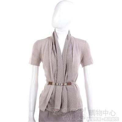 FABIANA FILIPPI 異材質拼接短袖外套(附釦帶/卡其色)