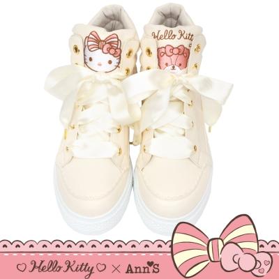 HELLO KITTY X Ann'S花園緞帶蝴蝶結粉嫩球鞋-米白