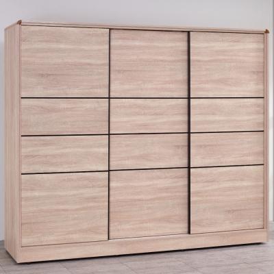 品家居 克萊兒7.4尺橡木紋推門衣櫃-223x59x197cm-免組