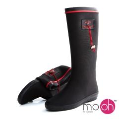 mo.oh愛雨天-軟面抽繩摺疊長筒雨鞋雨靴-黑紅