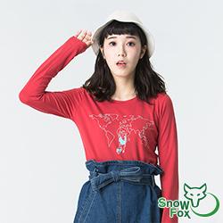 【SNOWFOX 雪狐】質輕透氣不悶熱 防曬女款長袖圖T恤 ATL-81655W 紅