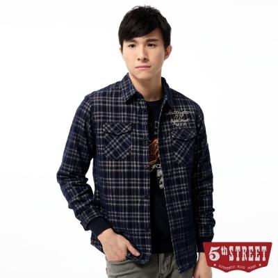 5th STREET 襯衫 格紋鋪棉長袖襯衫-男-丈青