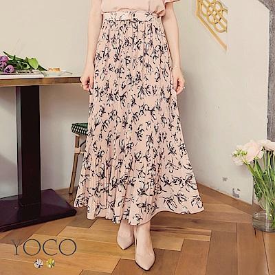 東京著衣-yoco 飄逸柔美鬆緊細褶印花腰帶長裙-S.M.L(共二色)