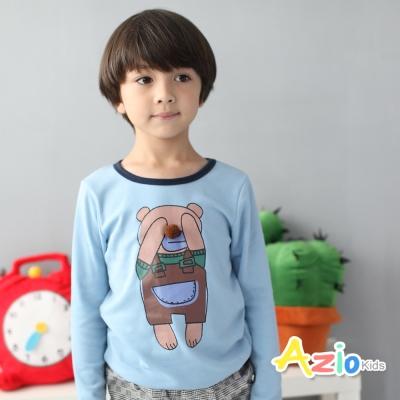 Azio Kids 童裝-上衣 動物立體鼻子滾邊長袖T恤(藍)