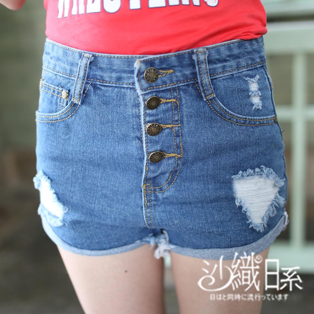 短褲 四排扣刷破反摺造型牛仔短褲(藍)-沙織日系