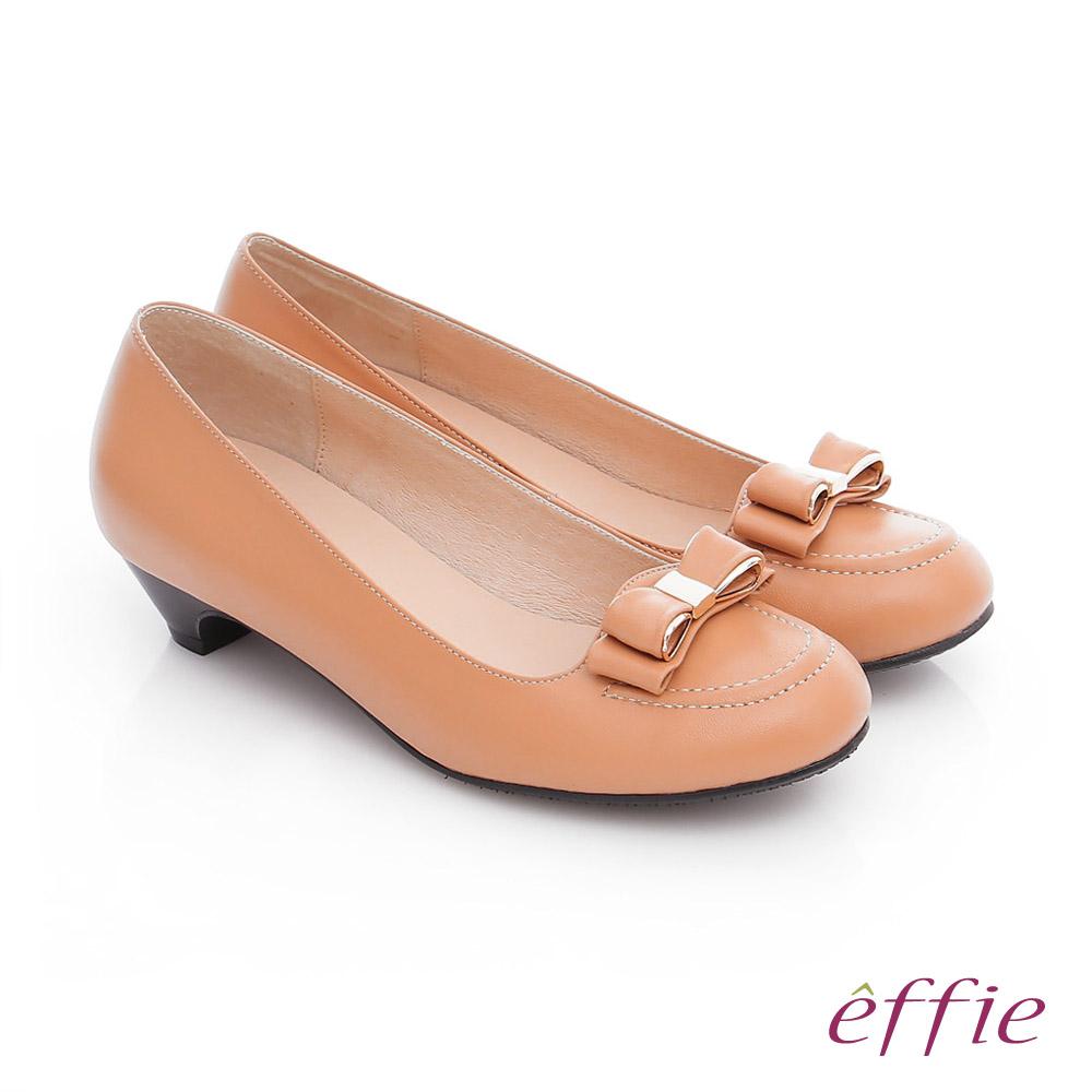 effie 都會舒適 羊皮立體蝴蝶結飾低跟鞋 粉橘