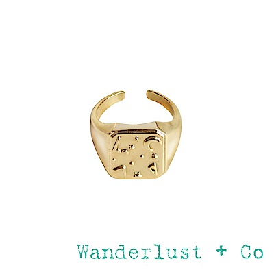 Wanderlust+Co 澳洲品牌 古典銀河星系戒指 金色可調式方形戒指 ZALEA