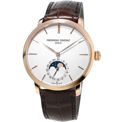 康斯登 CONSTANT 自製機芯超薄月相腕錶 -咖啡色/42mm