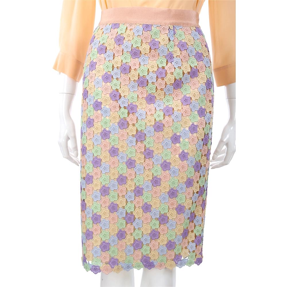 MOSCHINO 多彩織花蕾絲及膝裙