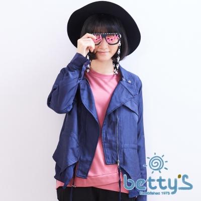 betty's貝蒂思 垂墜感立領收腰雪紡拼接風衣(藍色)