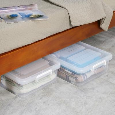 創意達人水晶雙掀式床下扁收納箱35L(6入)