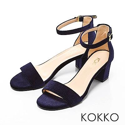 KOKKO-一字帶繫踝天鵝絨粗跟涼鞋-深牡丹藍