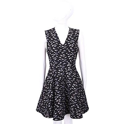 SI-JAY V領紫花泰絲刺繡黑色洋裝