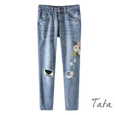 花朵刺繡破洞牛仔褲-TATA