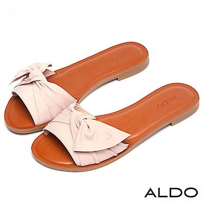 ALDO 原色真皮抽皺蝴蝶扭結木紋粗跟涼拖鞋~愛戀粉色