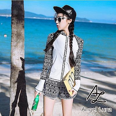 【AngelLuna】圖騰四件式比基尼水母衣泳裝(日本直送3-10天到貨)