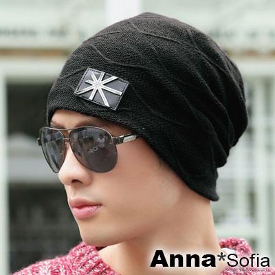 AnnaSofia-米旗皮革標線紋-保暖加厚針織貼