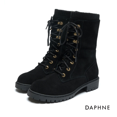 達芙妮DAPHNE 短靴-麂皮拼接針織繫帶馬丁靴-黑