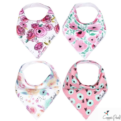 Copper Pearl 美國 水彩花卉雙面領巾圍兜口水巾4件組