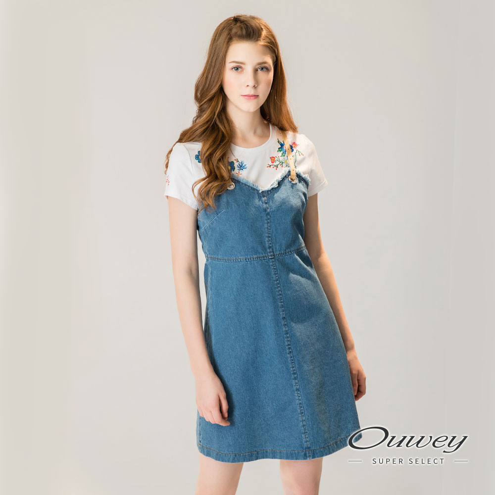 OUWEY歐薇 麂皮吊帶造型牛仔洋裝(藍)