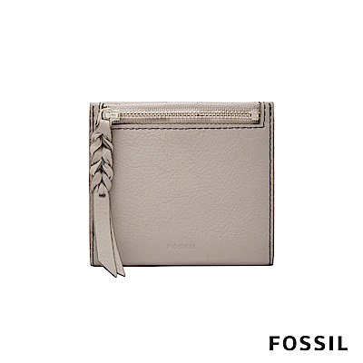 FOSSIL CAROLINE真皮短夾-卡其/灰白